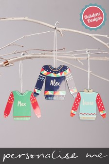 Personalised Colourful Festive Jumper Decoration by Oakdene Designs