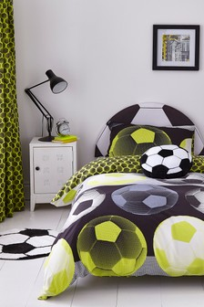 Neon Football Easy Care Duvet Cover and Pillowcase Set by Catherine Lansfield