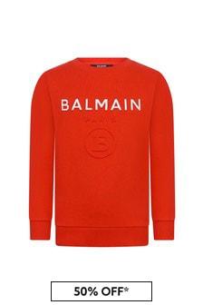 Balmain Boys Red Cotton Sweater