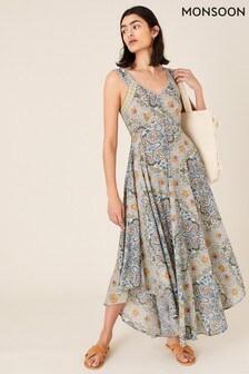 Monsoon Blue Miriam Print Midi Dress