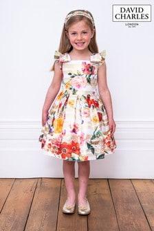 David Charles Gold Stripe Brocade Floral Dress