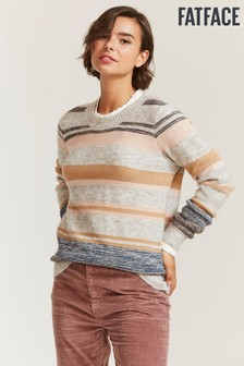 FatFace Grey Tweed Stripe Jumper