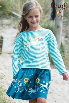 Frugi GOTS Organic Unicorn Print Full Skirt
