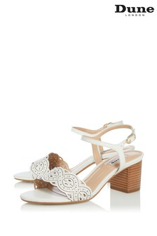 Dune London Jella White Leather Lazer Cut Sandals
