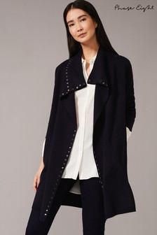 Phase Eight Blue Paloma Stud Knit Coat