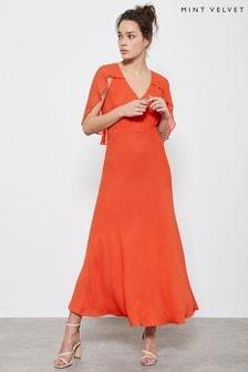 Mint Velvet Orange Angel Sleeve Midi Dress