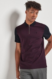 Check Zip Neck Poloshirt