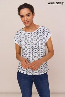 White Stuff Denim Geo Embroidered T-Shirt
