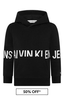 Boys Black Cotton Stretch Logo Hoody