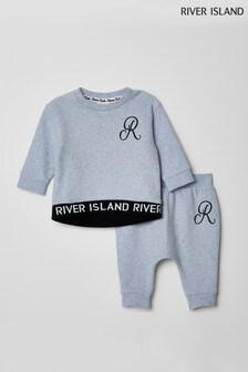 River Island Grey Monogram Sweat Set