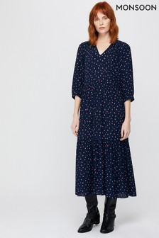 Monsoon Navy Tilda Tiered Spot Print Midi Dress