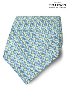 T.M. Lewin Made In Italy Wide Yellow/Blue Elephant Silk Tie