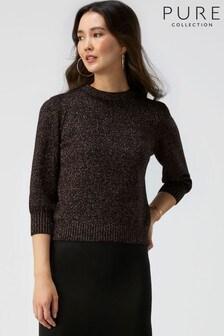 Czarny sweter z bufiastym rękawem Pure Collection Toccato
