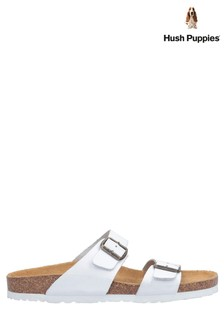 Hush Puppies White Kylie Mule Sandals