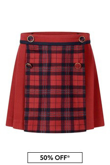 Girls Red/Navy Tartan Skirt