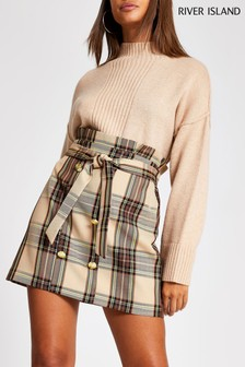 River Island Brown Mara Check Skirt
