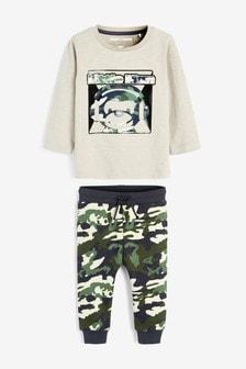 Gel Print Monkey T-Shirt And Camo Printed Joggers Set (3mths-7yrs)