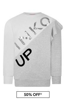 Girls Ivory/Grey Cotton Logo Sweater