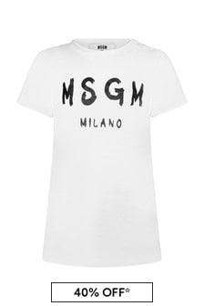 MSGM Baby Girls White Cotton Dress