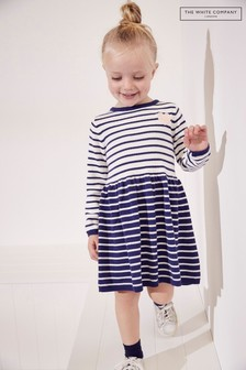The White Company Blue Heart Motif Knitted Dress