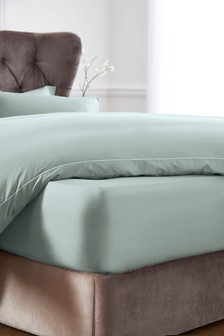 Plain Dyed Percale Deep fitted Bed Sheet Pillow Cases Blue Cream Pink Teal Grey