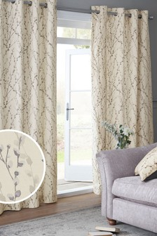 Grey Delicate Willow Print Eyelet Lined Curtains