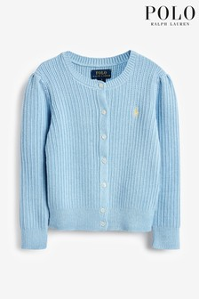 Ralph Lauren Blue Cable Knit Logo Cardigan