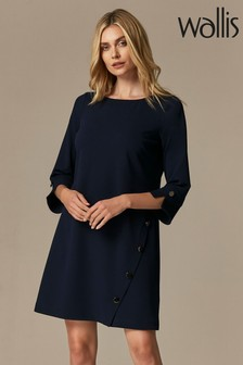 Wallis Navy Stud Detail Shift Dress