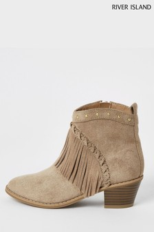 River Island Brown Light Fringed Western Boots