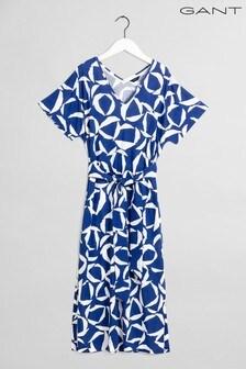 GANT Blue Cresent Bloom Jersey Dress