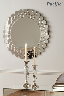 Petal Shaped Glass Round Mirror by Pacific Lifestyle