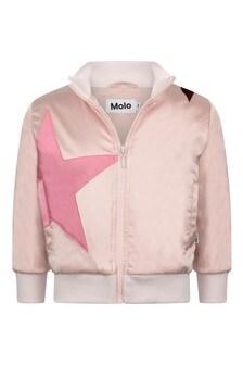 Girls Pink Star Zip Up Top