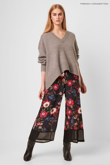 French Connection Blue Eloise Drape 2 Printed Culottes