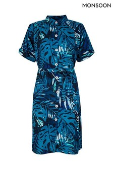 Monsoon Blue Palm Print Sustainable Viscose Shirt