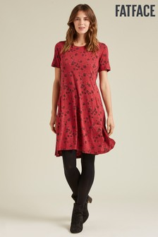 FatFace Red Simone Silhouette Ditsy Dress