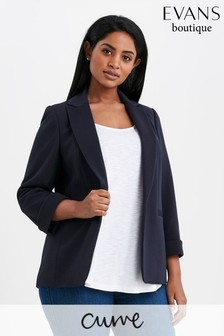 Evans Navy Blue Curve Ribbed Blazer