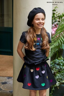 Sonia Rykiel Paris Black Multi Hearts Skirt