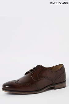 River Island Brown Dark Roger Leather Brogue Shoes