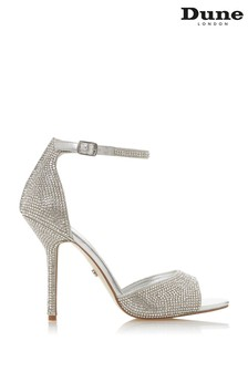 Dune London Silver Millionaire Synthetic High Heeled Sandals