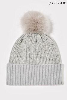 Jigsaw Grey Donegal Block Pom Hat