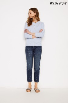 White Stuff Blue Straight Printed Crop Jeans