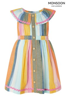 Monsoon Pink Baby Molly Stripe Dress