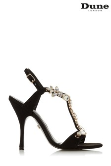 Dune London Black Mistique Embellished Open Toe Stiletto Heels