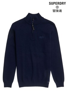 Superdry Navy Henley Knit Top