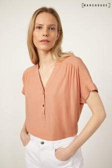Warehouse Pink V-Neck Button Front Top