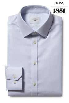 Moss 1851 Slim Fit Blue Single Cuff Dobby Weave Zero Iron Shirt