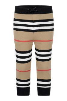 Boys Beige Icon Stripe Cotton Trousers