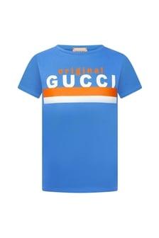 GUCCI Kids Boys Blue Cotton T-Shirt