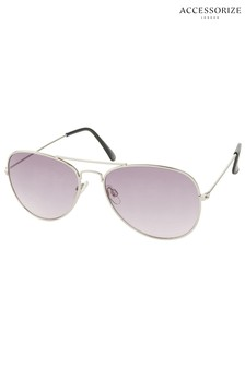 Accessorize Silver Chantal Aviator Sunglasses