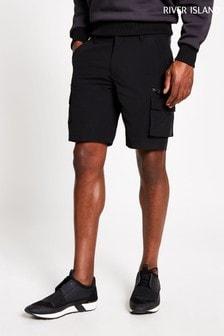 River Island Black Tech Cargo Shorts